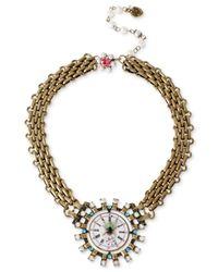 Betsey Johnson - Metallic Brass-Tone Clock Frontal Necklace - Lyst