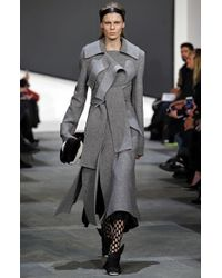 Proenza Schouler - Gray Boiled Wool Double Breasted Coat - Lyst