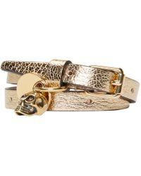 Alexander McQueen | Metallic Gold Double_wrap Leather Bracelet | Lyst