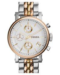 Fossil - Metallic 'original Boyfriend' Chronograph Bracelet Watch - Lyst