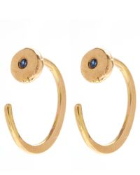 Melissa Joy Manning | Metallic Gold Sapphire Hug Hoop Earrings | Lyst