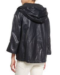 Brunello Cucinelli - Blue Waxed Leather Hooded Jacket - Lyst
