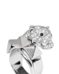 Iosselliani - Metallic Crystal Pavé Panther Head Ring - Lyst