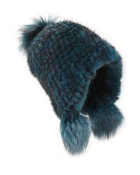 Jocelyn - Blue Dyed Mink Fur Cap - Lyst