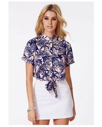 Missguided - Blue Gerona Hawaiian Crop Shirt - Lyst