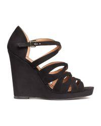 H&M | Black Wedge-heel Sandals | Lyst