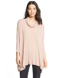 Bobeau | Pink Cowl Neck Swing Sweater | Lyst