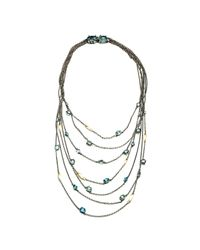Alexis Bittar | Metallic Midnight Marquis Multi Strand Necklace With 18k Gold | Lyst