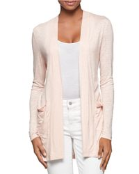 Calvin Klein Jeans | Pink Open Front Cardigan | Lyst