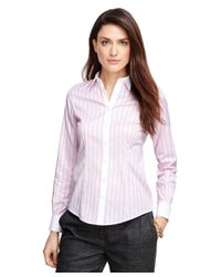 Brooks Brothers | Pink Tailored Fit Cotton Herringbone Dress Shirt | Lyst