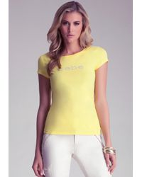 Bebe - Yellow Basic Logo Rhinestone Tee - Lyst