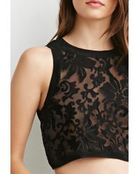 Forever 21 - Black Ornate Embroidered Semi-sheer Top - Lyst