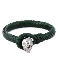 Alexander McQueen - Green Woven Skull Bracelet for Men - Lyst