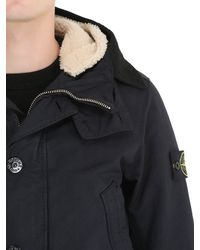Stone Island - Blue Hooded Coated David Tc Down Parka for Men - Lyst