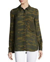 Haute Hippie - Green L/s Button Down W/ Pocket - Lyst