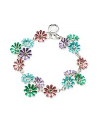 Jones New York - Metallic Silvertone Colorful Flower Link Bracelet - Lyst