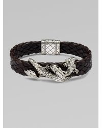 John Hardy | Silver Dragon Leather Braceletbrown for Men | Lyst
