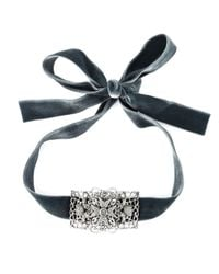 Alberta Ferretti | Gray Velvet Ribbon Necklace | Lyst