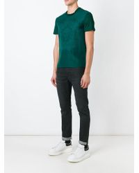 Alexander McQueen   Green Embroidered Skull T-shirt for Men   Lyst