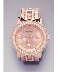Bebe - Metallic Rhinestone Link Watch - Lyst