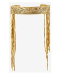 Express | Metallic Chain Fringe Cuff Bracelet | Lyst