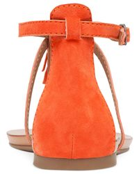 Lucky Brand | Red Women's Wekka Fringe Flat Thong Sandals | Lyst