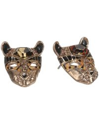 Betsey Johnson - Multicolor Hollywood Glam Leopard Head Stud Earrings - Lyst