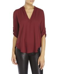 Lush - Red Tab Sleeve Chiffon Top - Lyst