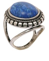 Lucky Brand - Blue Silver Tone Ring with Lapis Stone - Lyst