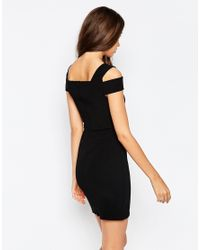 ASOS | Cut Out Shoulder Rib Mini Bodycon Dress - Black | Lyst