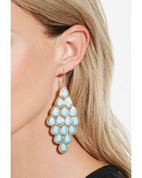 Forever 21 - Blue Faux Stone Teardrop Chandelier Earrings - Lyst