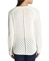 1.STATE | White Ribbed-knit Textured Sweater | Lyst