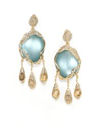 Alexis Bittar | Blue Lucite & White Quartz & Labradorite Doublet Drop Earrings | Lyst