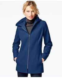 London Fog - Blue Hooded Zip-front Coat - Lyst