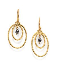 Gurhan | Metallic Hoopla Black Diamond & 24k Yellow Gold Drop Earrings | Lyst