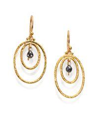 Gurhan   Metallic Hoopla Black Diamond & 24k Yellow Gold Drop Earrings   Lyst