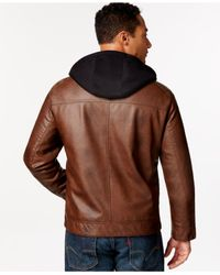 Calvin Klein - Brown Calvin Klein Big & Tall Faux Leather Jacket With Hood for Men - Lyst