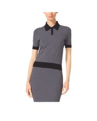 Michael Kors | Black Diamond Jacquard Stretch-viscose Polo Sweater | Lyst