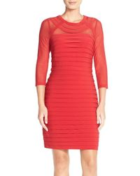 Adrianna Papell | Red Illusion Pleated Jersey Sheath Dress | Lyst