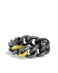 David Yurman | Black & Gold Curb Link Bracelet With Gold | Lyst