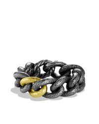 David Yurman - Black & Gold Curb Link Bracelet With Gold - Lyst