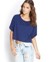 Forever 21 - Blue Boxy Pocket Tee - Lyst