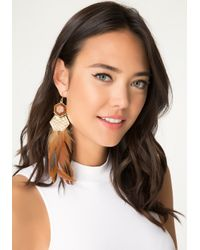 Bebe | Brown Feather Statement Earrings | Lyst