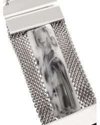 Toga - Black Mesh And Marble-Effect Stone Cuff - Lyst