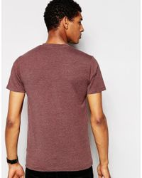 SELECTED - Brown V Neck T-shirt In Pima Cotton for Men - Lyst