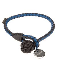 Bottega Veneta - Blue Intrecciato Bracelet for Men - Lyst