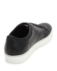 Lanvin - Black Captoe Honeycomb-print Shoe for Men - Lyst