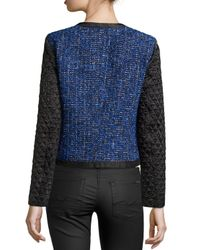 Michael Kors - Blue Tweed Jacket With Quilted Sleeves - Lyst