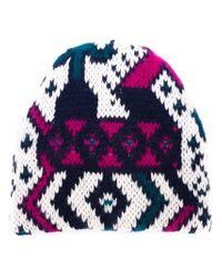 Tak.ori - White Intarsia Knit Beanie Hat - Lyst