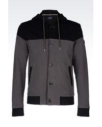 Armani Jeans - Gray Hooded Cotton Sweatshirt for Men - Lyst
